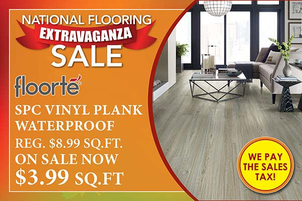 National Flooring Extravaganza Sale going on now! Floorte SPC vinyl plank waterproof flooring on sale for only 3.99 SQ.FT. - Only at Fine Floorz in Walnut Creek, California!
