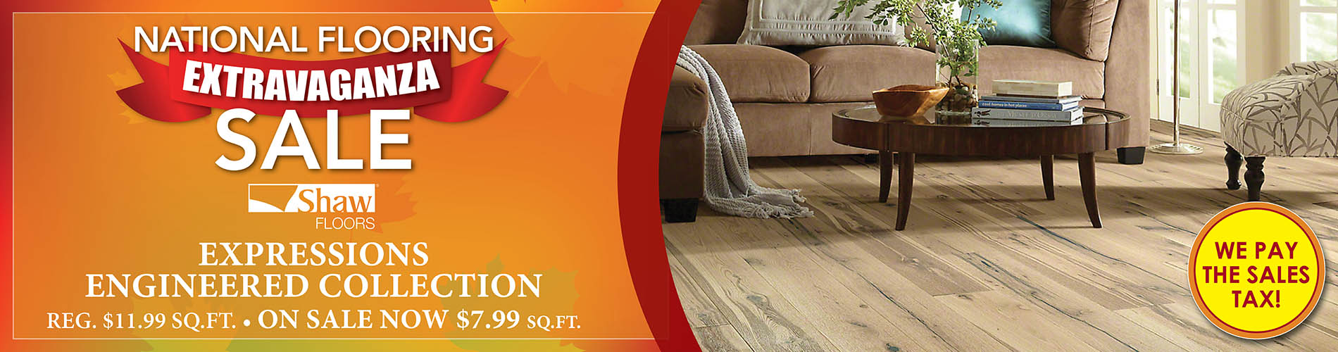 National Flooring Extravaganza Sale going on now! Shaw Expressions Engineered Collection on sale for only $7.99 sq.ft. - Only at Fine Floorz in Walnut Creek, California!