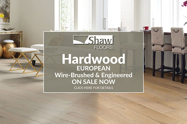 Shaw Floors hardwood European wire-brushed and engineered flooring on sale now.
